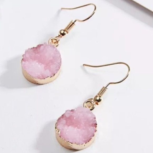 Jewelry - Rose Quartz Druzy Earrings